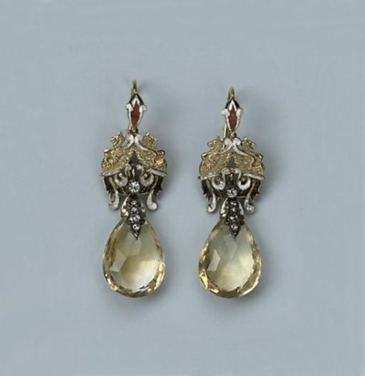 A PAIR OF CITRINE AND ENAMEL E
