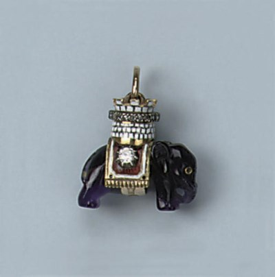 A RUSSIAN AMETHYST ENAMEL AND