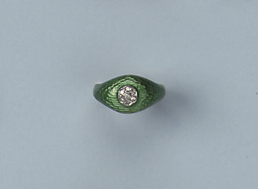 AN ENAMEL AND DIAMOND RING