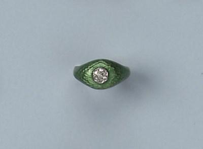 AN ENAMEL AND DIAMOND RING