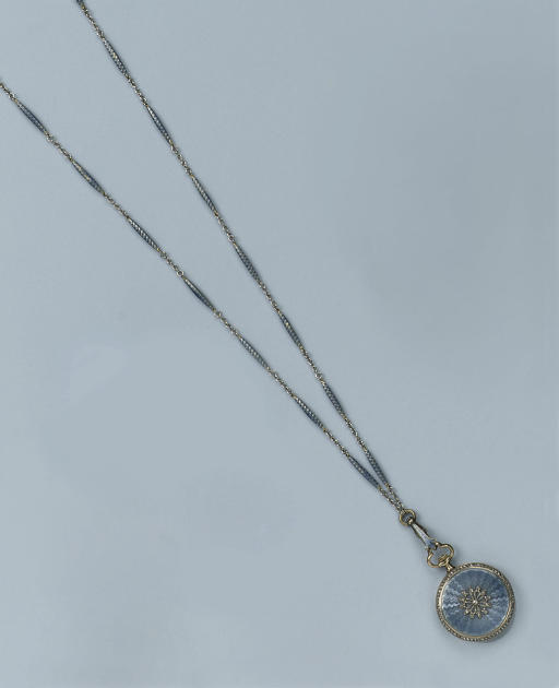 A BELLE EPOQUE ENAMEL AND DIAMOND PENDANT WATCH WITH CHAIN, BY GEORGES AUCOC