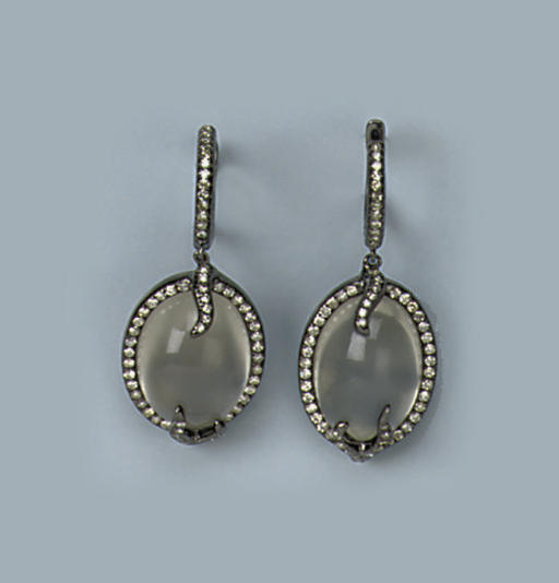 A PAIR OF MOONSTONE AND DIAMOND EARRINGS