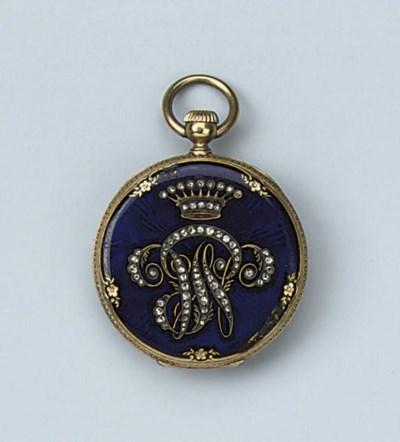 A FINE GOLD AND ENAMEL OPENFAC