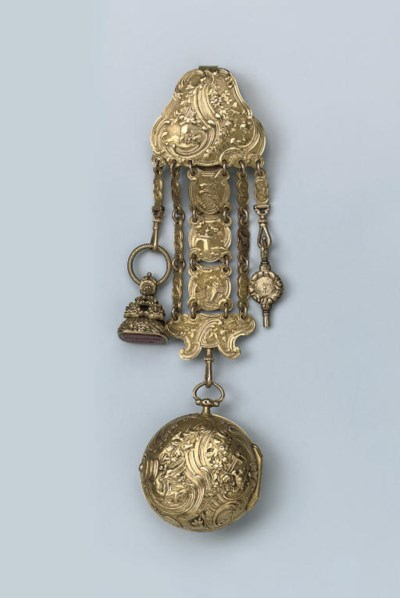 A FINE REPOUSSE VERGE WATCH BY
