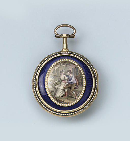 A FINE GOLD, ENAMEL AND PEARL-