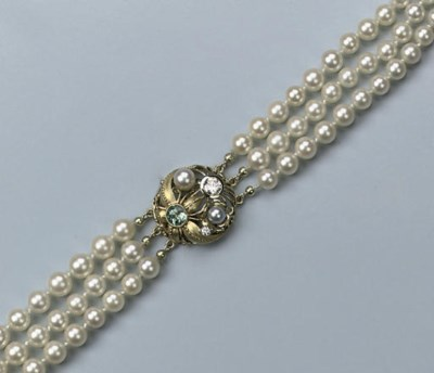A CULTURED PEARL, ZIRCON AND D