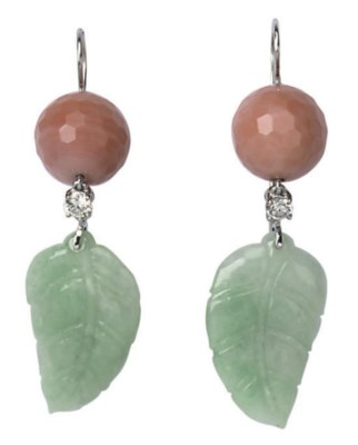 A PAIR OF JADE, CORAL AND DIAM