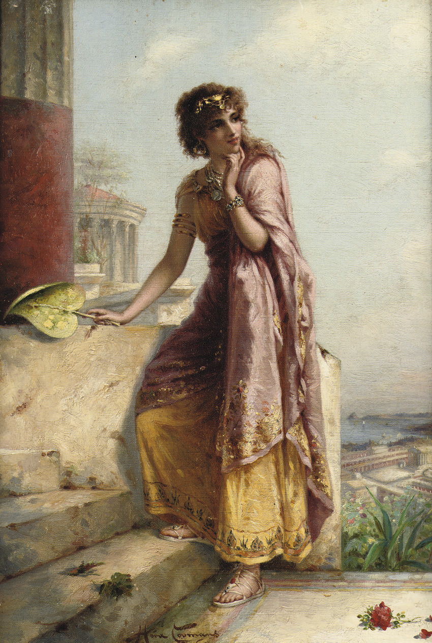 A young woman by a tempel