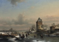 A winter landscape with many figures on a frozen waterway