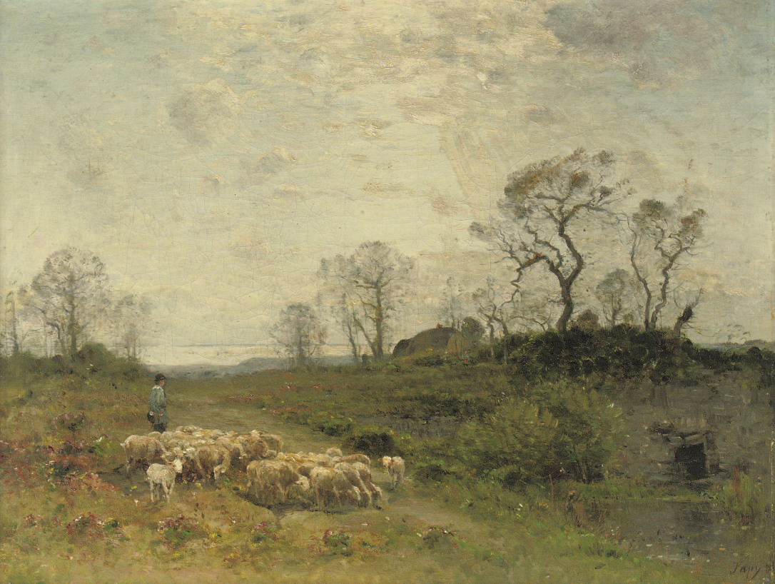 Leading the sheep across a flowering meadow
