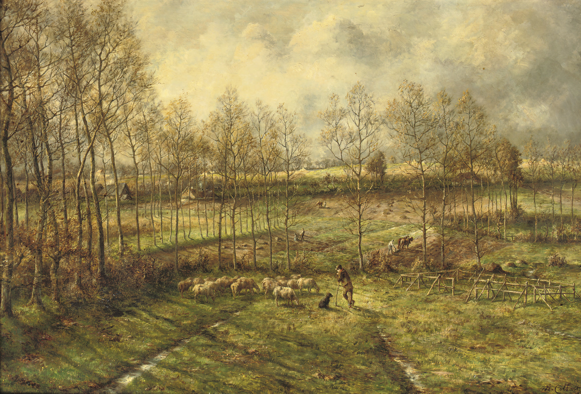 La campagne en mars: sheep grazing in a pasture