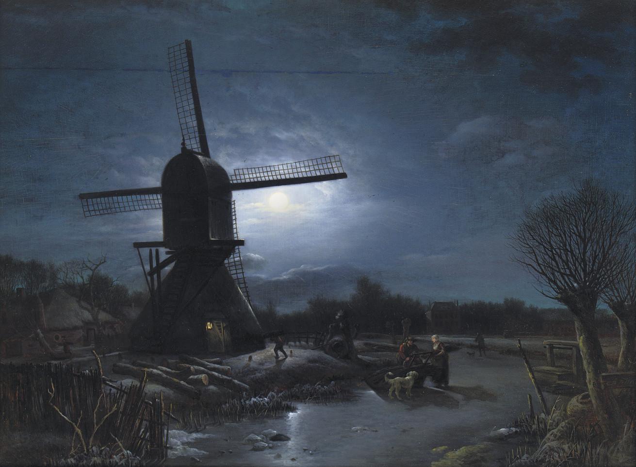 Activities near a windmill at night