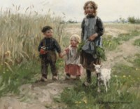Children walking through a meadow