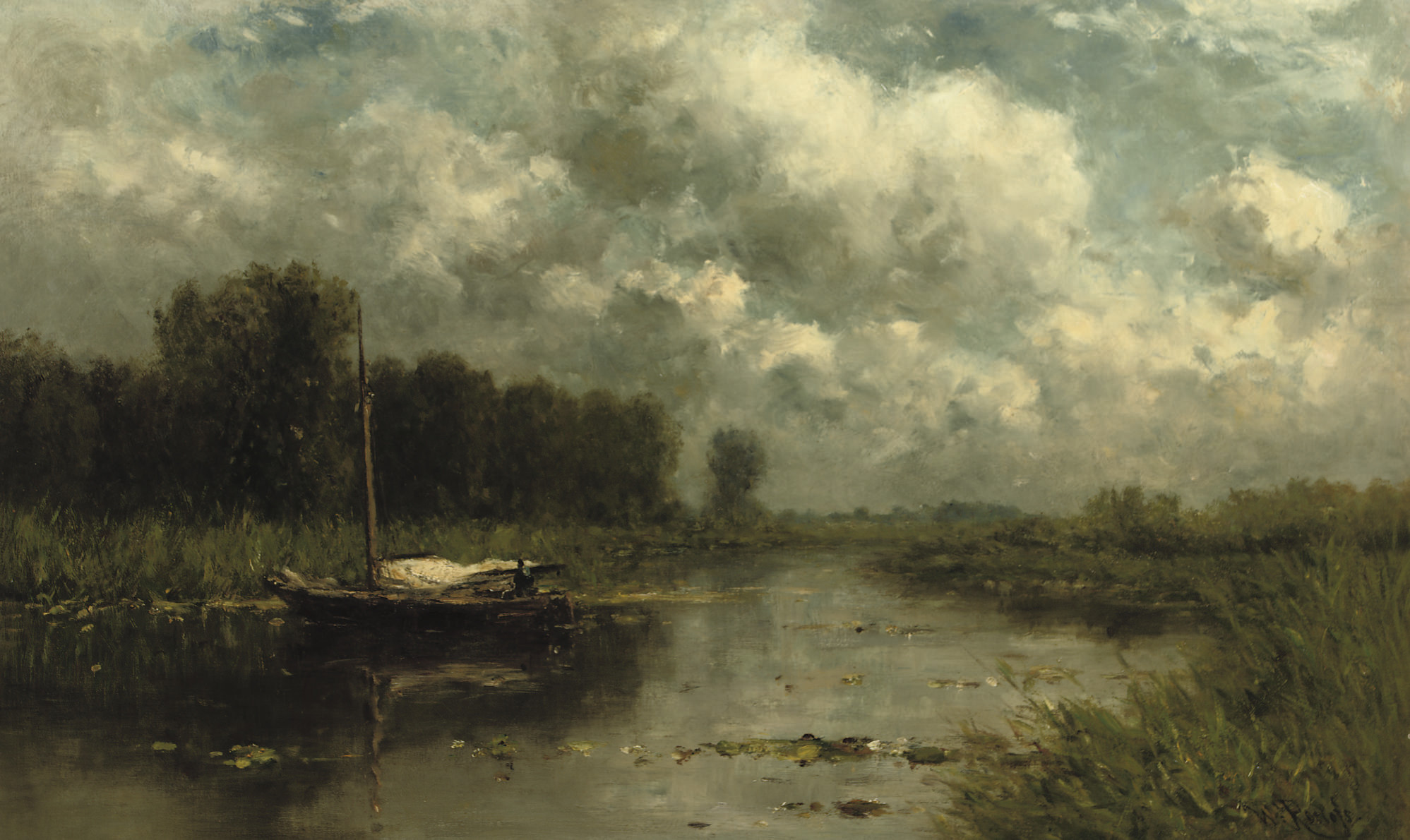 A polder landscape near the river Gein