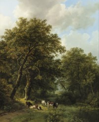 A herdsman and his cattle by a forest stream
