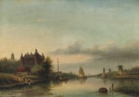 A Dutch river landscape with a castle by the water-front