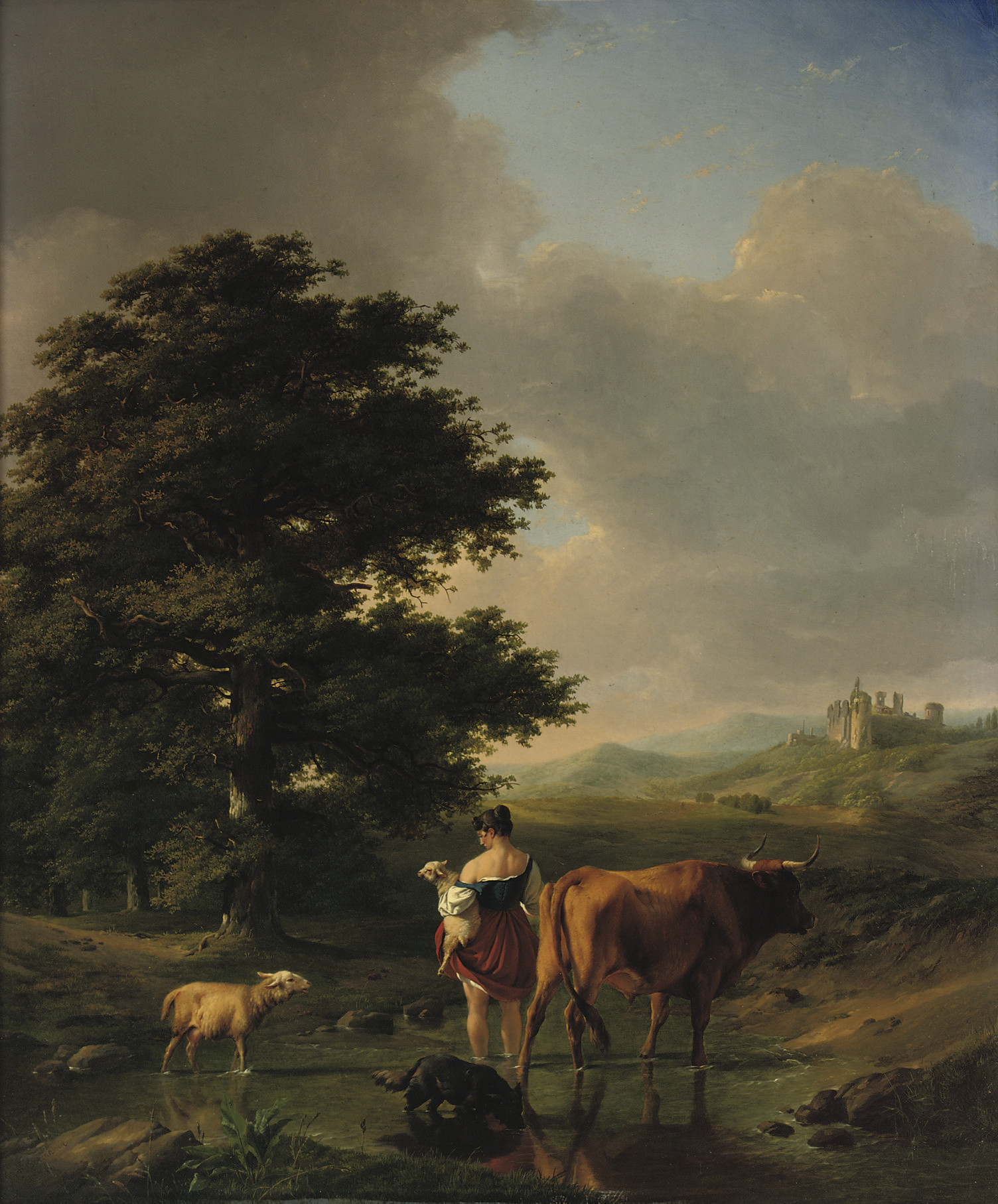 A woman and her cattle in an extensive summer landscape