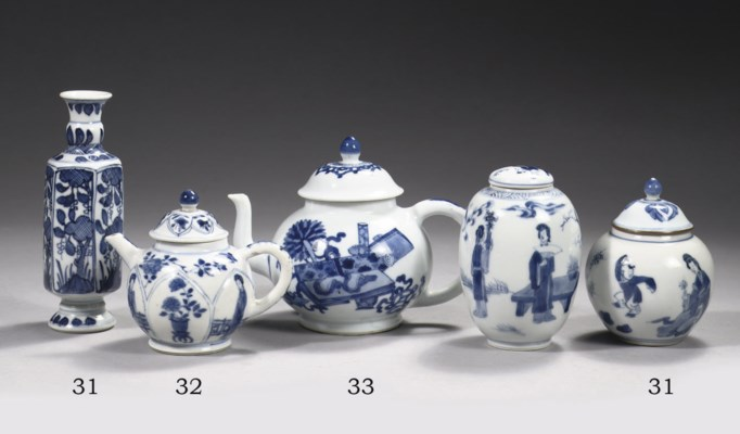 A blue and white small teapot