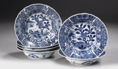 A set of six blue and white 'k