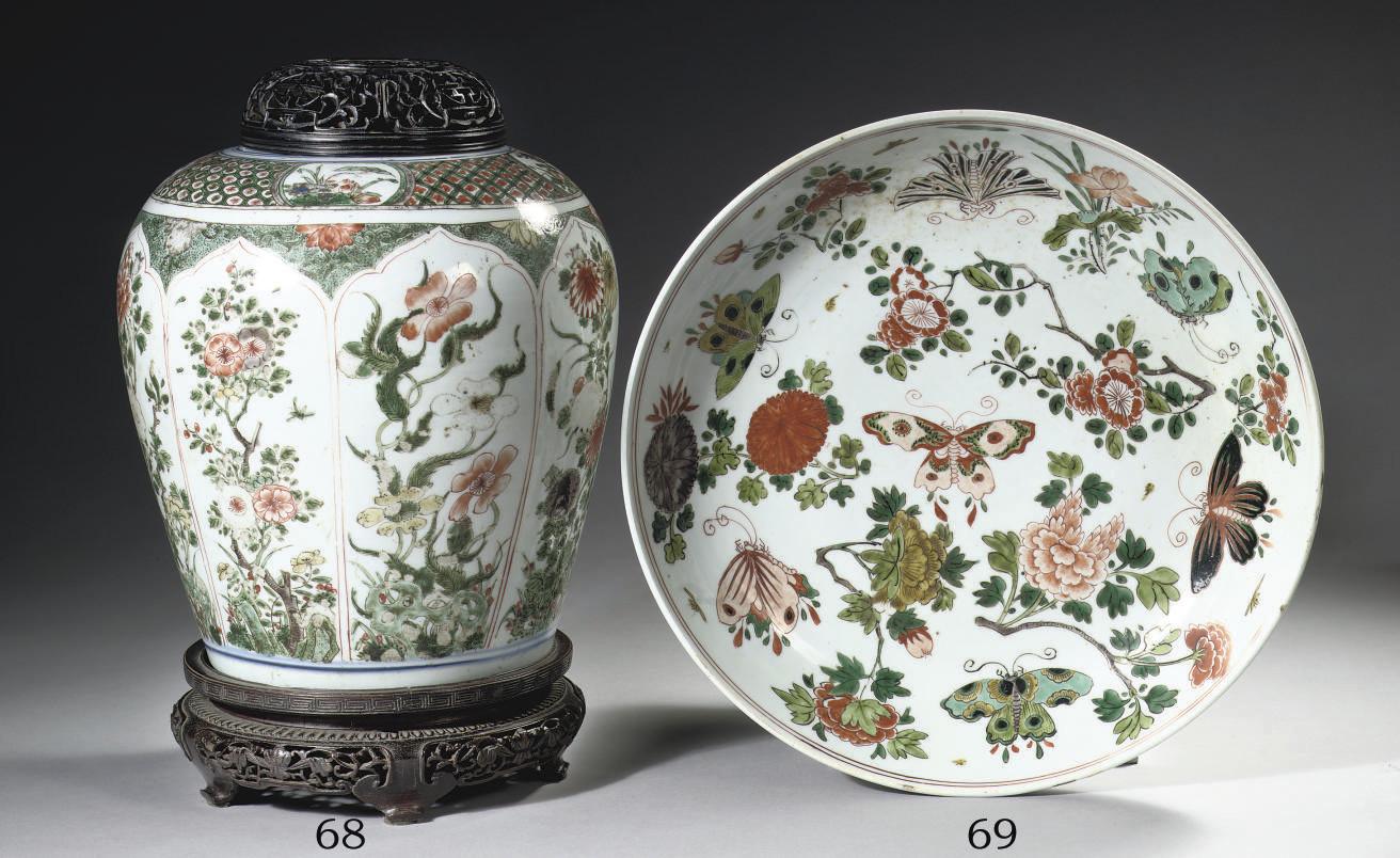 A famille verte baluster jar