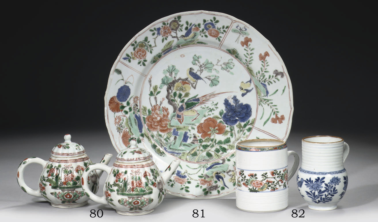 A pair of famille verte teapot