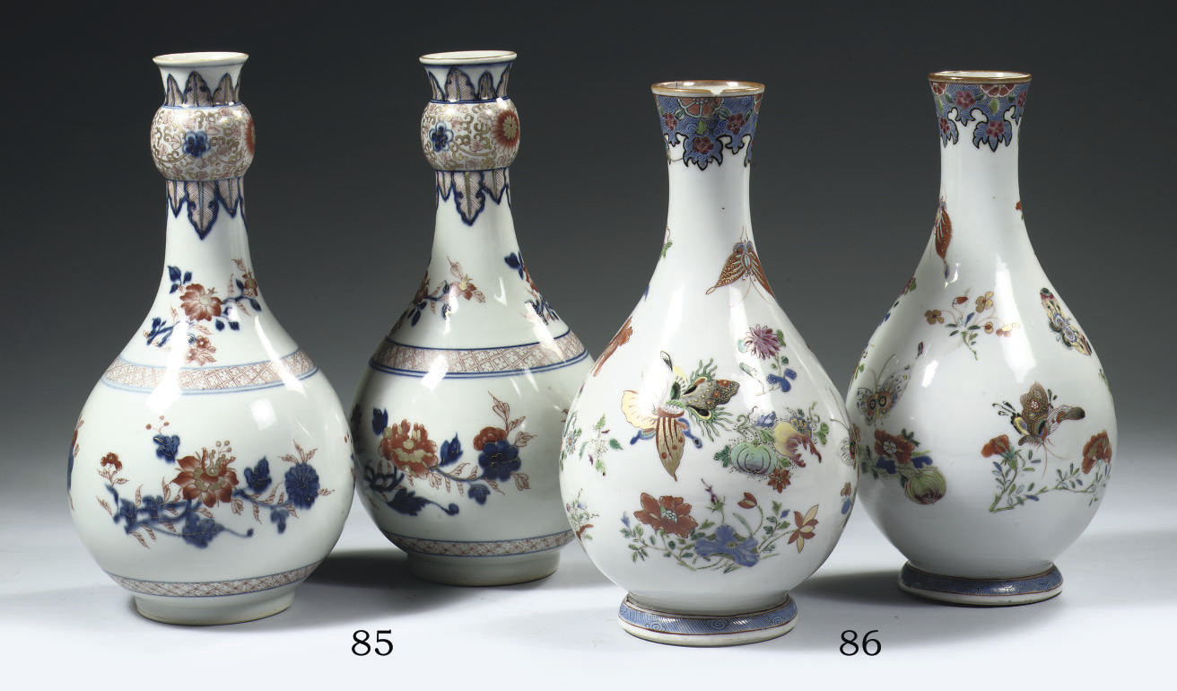 A pair of Imari bottle vases