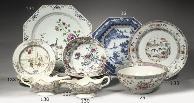 A famille rose bowl and a set
