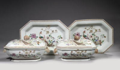 A pair of octagonal famille ro