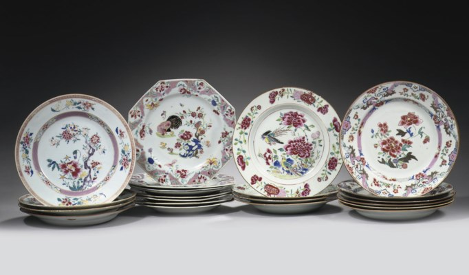 Six sets of famille rose plate