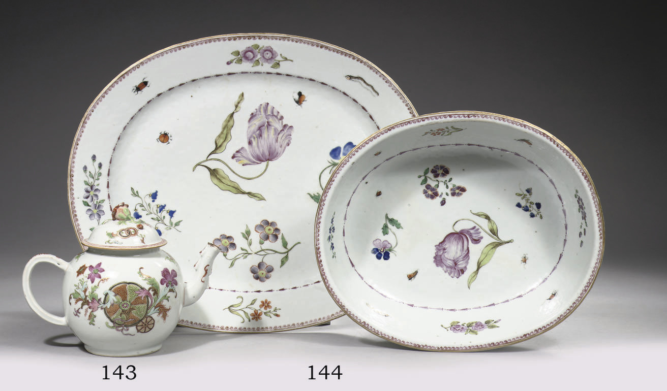 A rare famille rose oval bowl