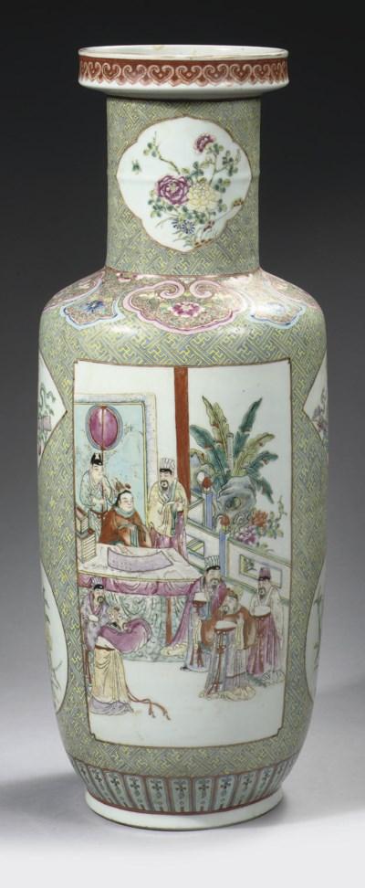 A famille rose rouleau vase