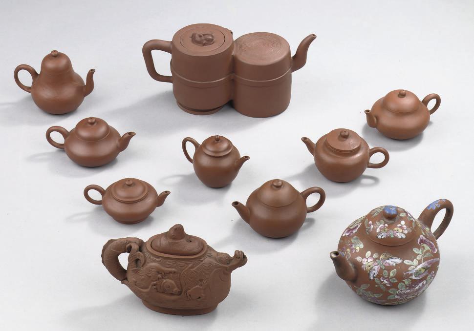 An assorted lot of ten Yixing