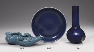 A blue-glazed saucer dish
