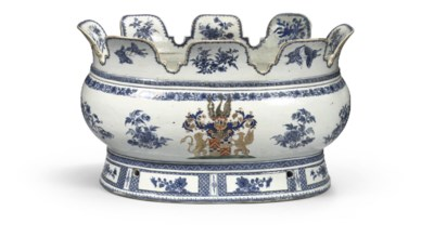 A blue and white armorial mont