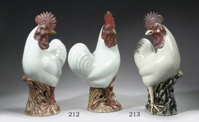 A white-glazed model of a cock