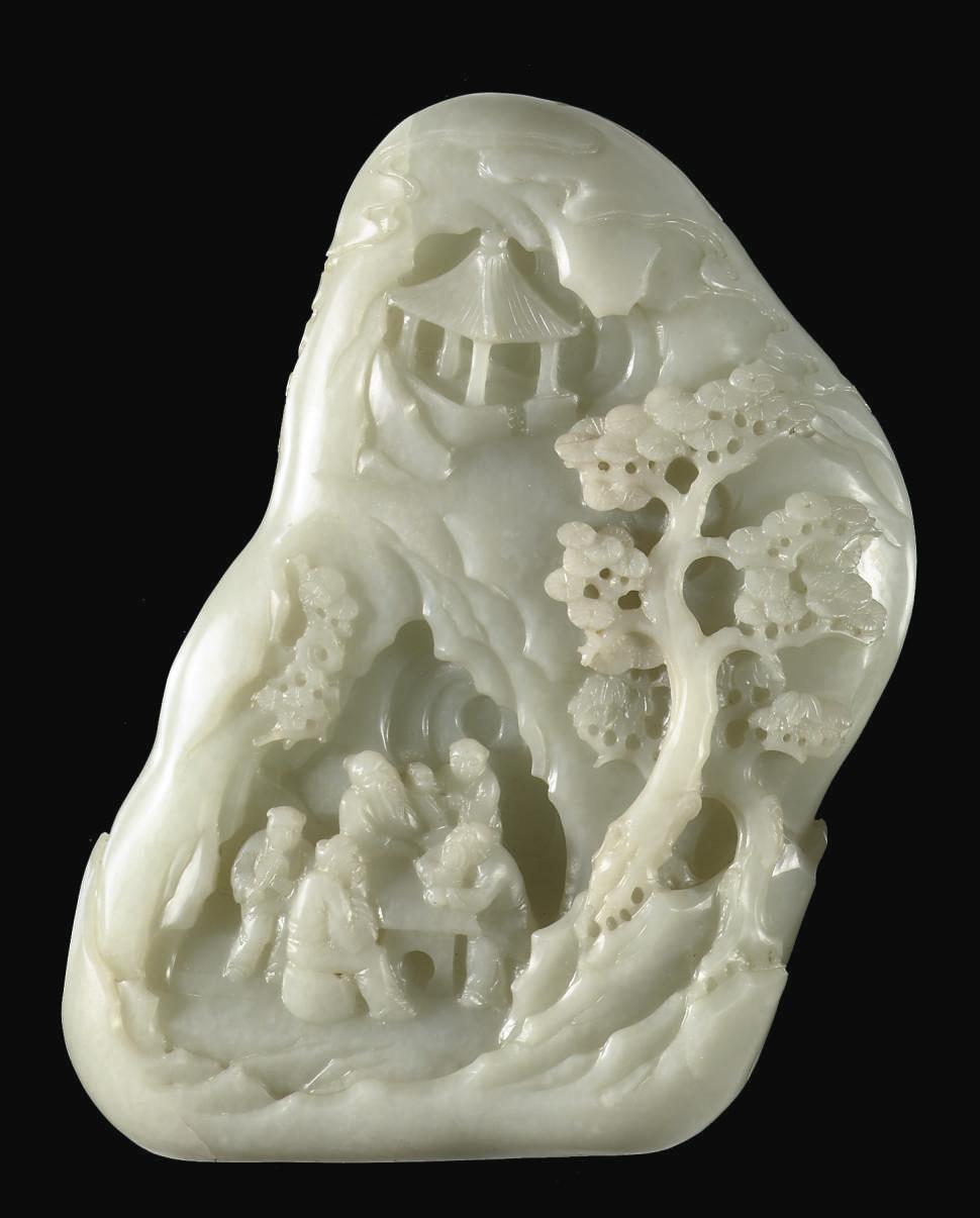 A pale celadon jade boulder