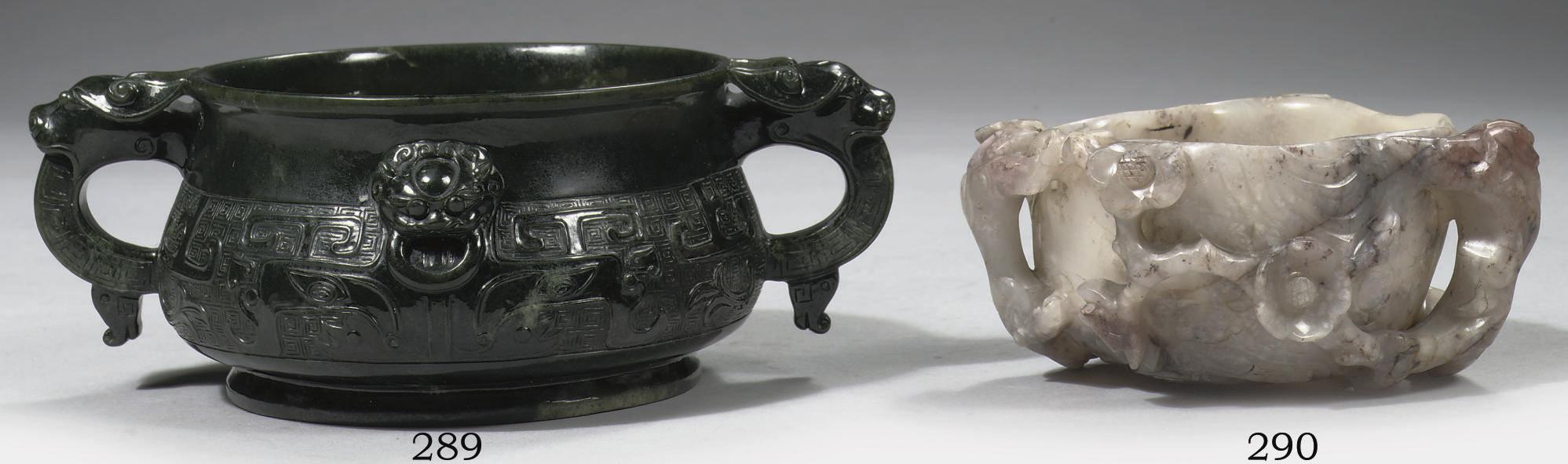 A mottled grey celadon brushwa