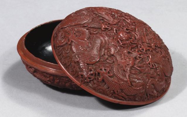 A fine red lacquer circular bo