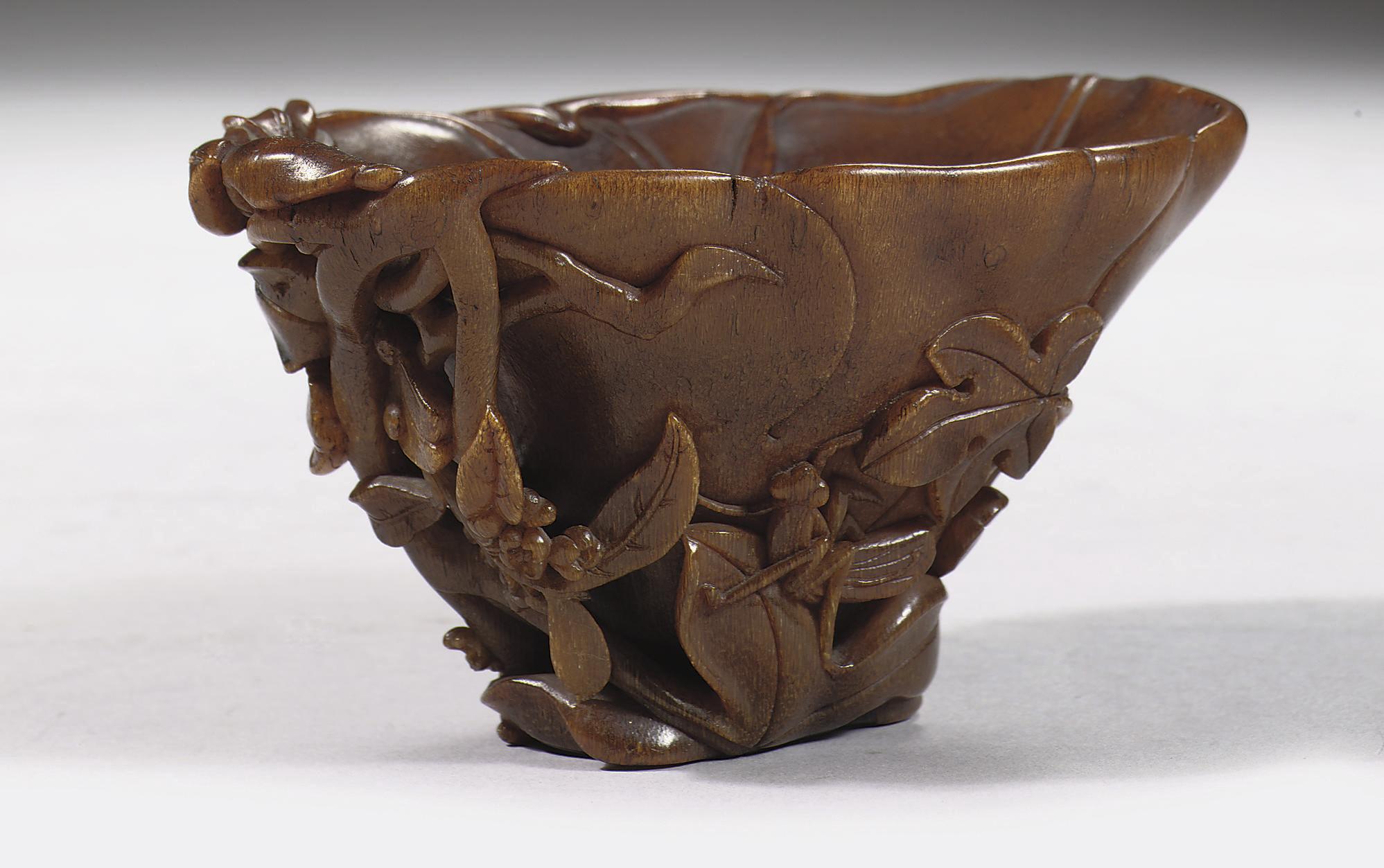 A rhinoceros horn flower-form