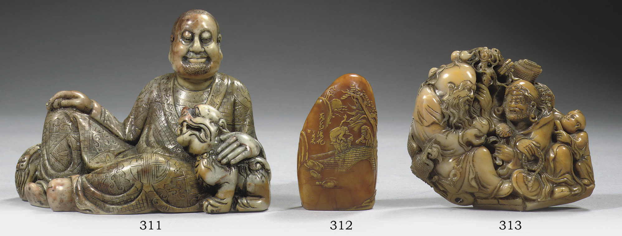 A soapstone figure of a luohan
