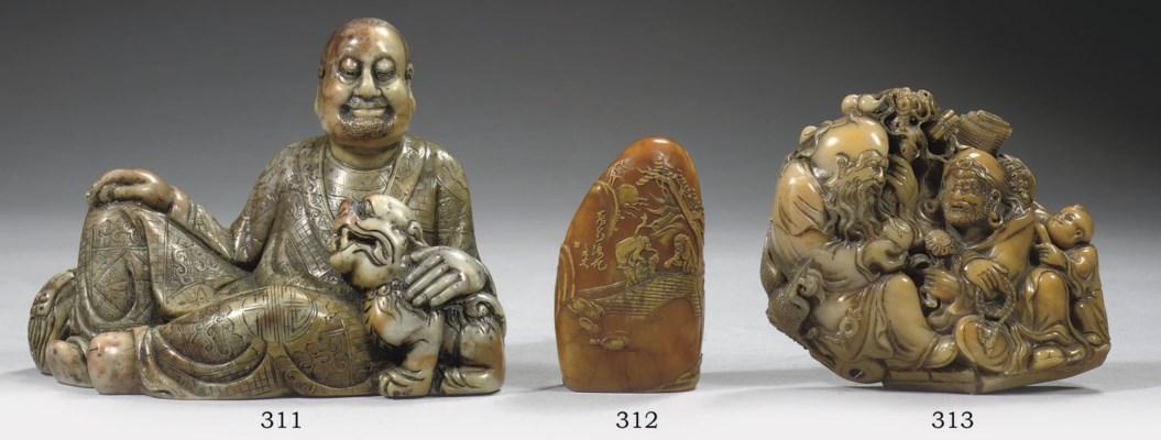A soapstone figure of a luohan