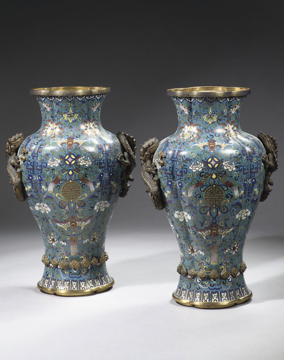 A pair of cloisonne enamel vas