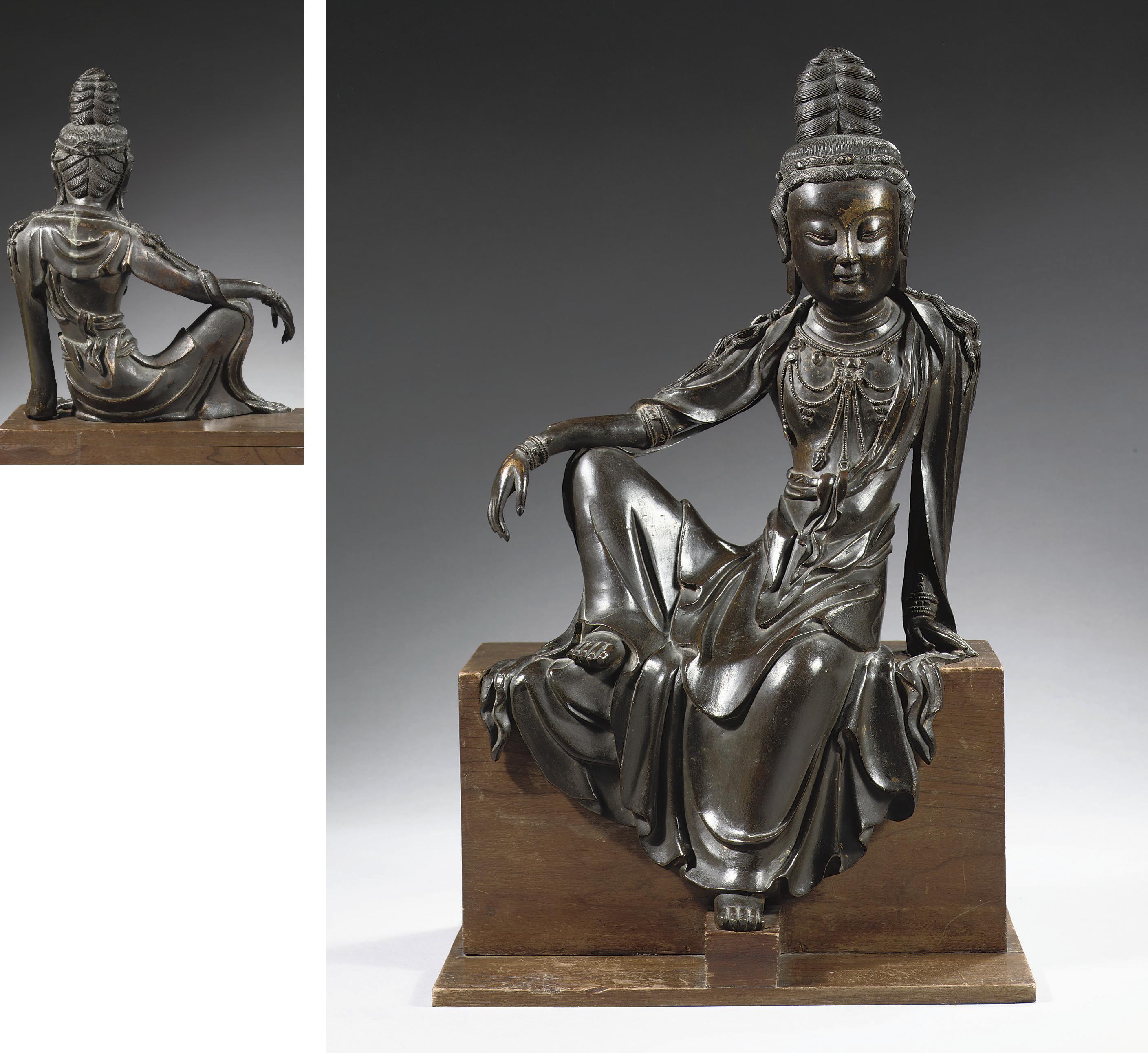 A rare chinese bronze figure o