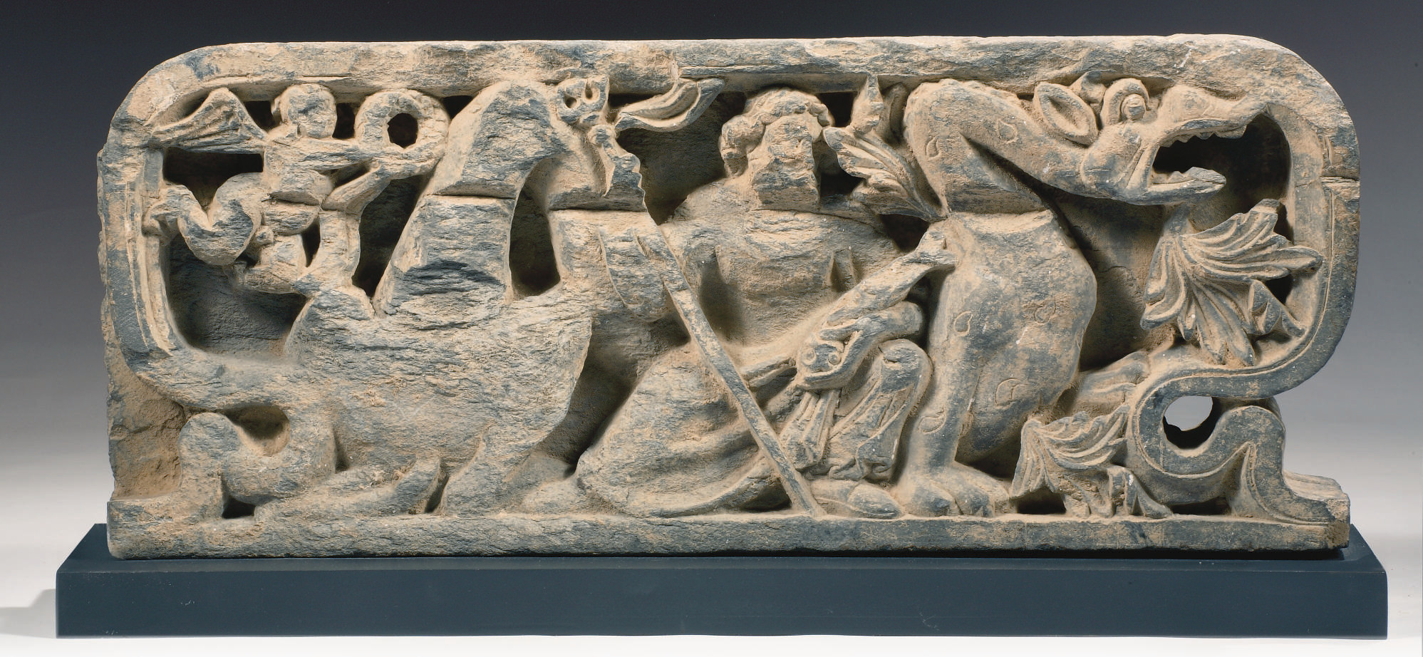 A Gandhara grey schist relief