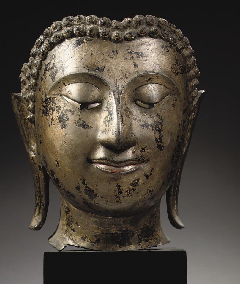 A Thai Sukhothai Style Bronze Fragment Of A Buddha Head