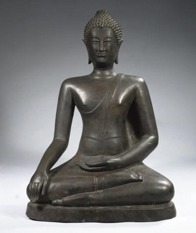 A Thai, Lanna, style, bronze f