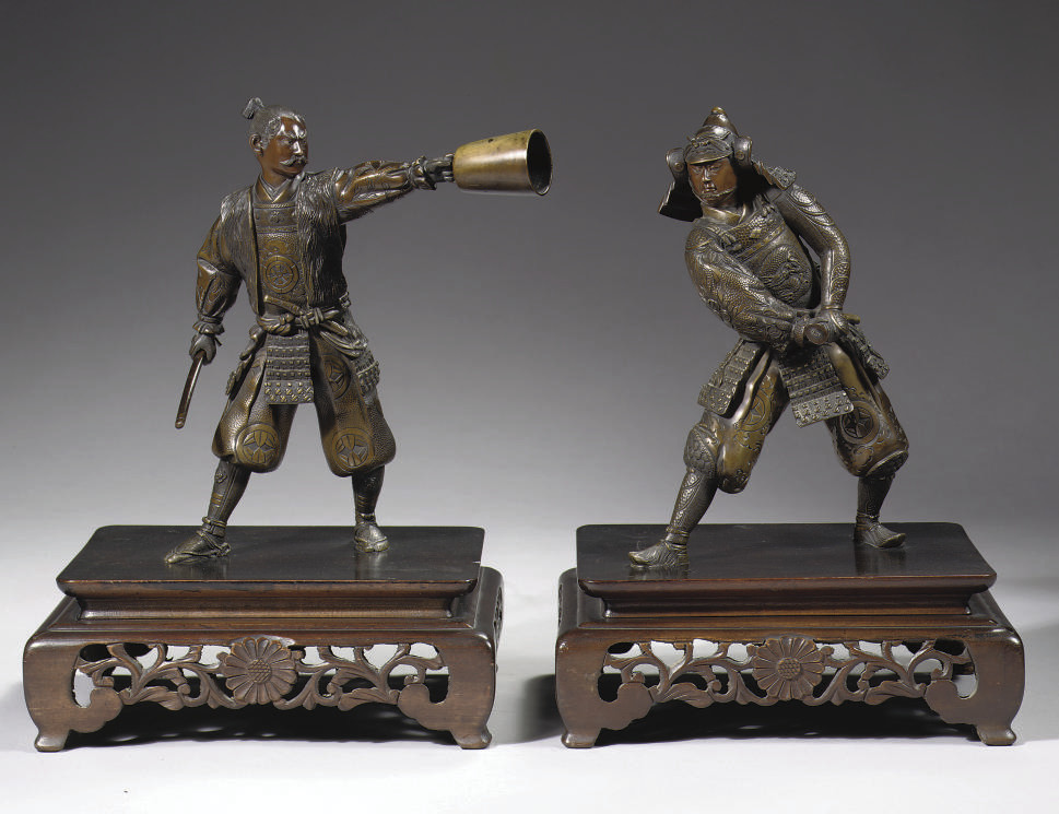 A pair of bronze figures of sa