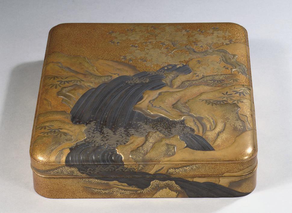 A lacquer suzuribako (writing