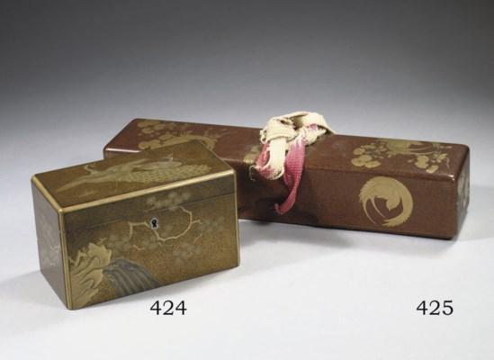 A lacquer rectangular tea-cadd