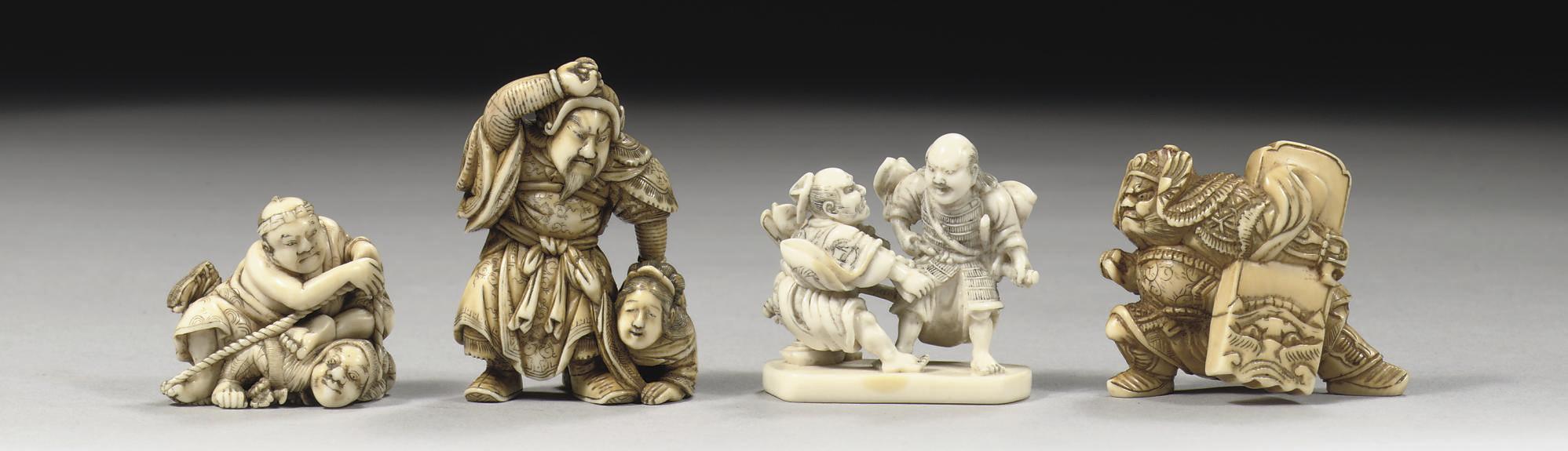 Four ivory netsuke
